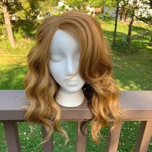 New Reddish Blonde LOB Human Hair Blend Curly Wig